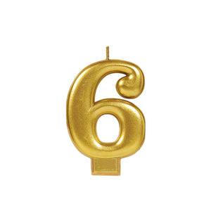 Candle Metallic Numeral #6 Gold - Dollar Max Depot