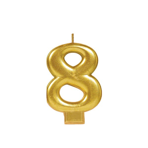 Candle Metallic Numeral #8 Gold - Dollar Max Depot