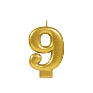 Candle Metallic Numeral #9 Gold - Dollar Max Depot