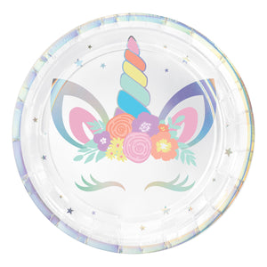 "Plate 7"" Round Irisdescent Unicorn Party - Dollar Max Depot"
