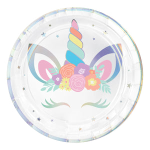 "Plate 9"" Round Irisdescent Unicorn Party - Dollar Max Depot"