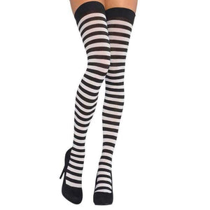 Adult Black and White Stripes Thigh Highs - Halloween Costume Accessories - Dollar Max Depot