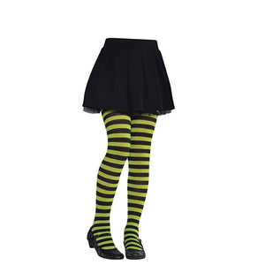Children Black and Green Stripes Tights - Halloween Costume Accessories - Dollar Max Depot