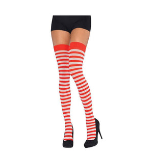 Red and White Thigh High Adult Socks - Halloween Costume Accessories - Dollar Max Depot
