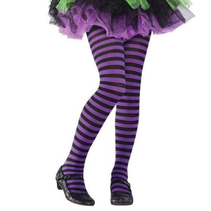 Children Black and Purple Stripes Tights - Halloween Costume Accessories - Dollar Max Depot