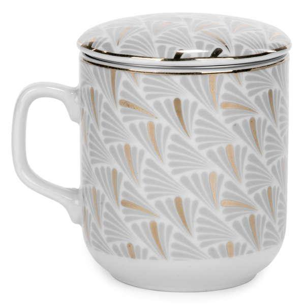 Gold And Grey Mug With Infuser - Dollar Max Depot