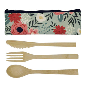 Set Of 3 Bamboo Utensils & Pouch - Green Floral 8.5 x 3''