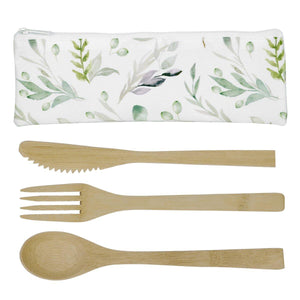 Set Of 3 Bamboo Utensils & Pouch -Olive Branch 8.5 x 3''