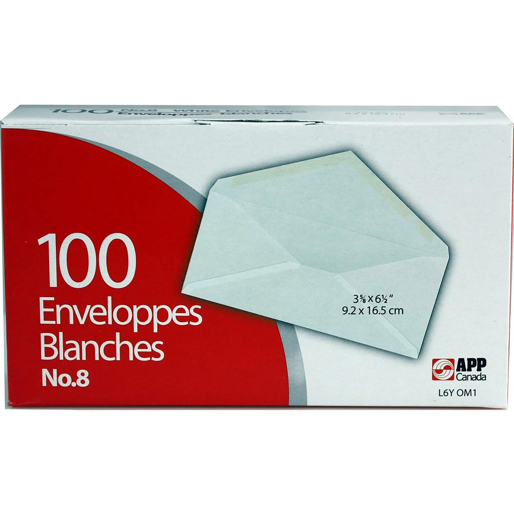 Boxed Envelopes #8 White 100/Box - Dollar Max Depot