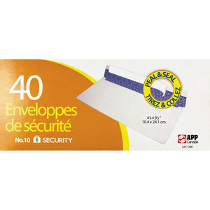 Peal & Seal Envelopes #10 - Security 40 Env./Box - Dollar Max Depot