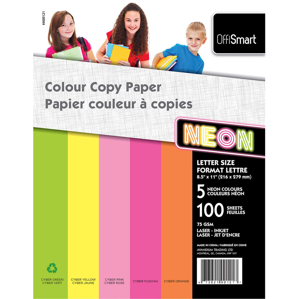 Colour Copy Paper 100 Sheets 5 Neon Colours - Dollar Max Depot
