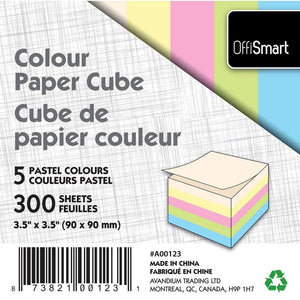 "Colour Memo Cube 3.5""X3.5"" 300 Sheets 5 Pastel Colours - Dollar Max Depot"