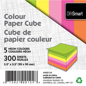 "Colour Memo Cube 3.5""X3.5"" 300 Sheets 5 Neon Colours - Dollar Max Depot"