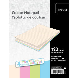 Pastel Writing Pad Ruled 8.5X11 120Pg