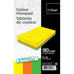 Neon Writing Pad Ruled 5X8 180Pg