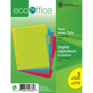 Eco Plastic Index Tab Dividers - 5 Tabs - Dollar Max Depot