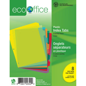 Eco Plastic Index Tab Dividers - 8 Tabs - Dollar Max Depot