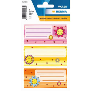 Vario School Labels Flower Faces - Dollar Max Depot