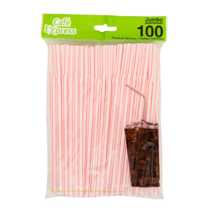 Cafe Express Flexible Straws White/Red 100/Pk - Dollar Max Depot