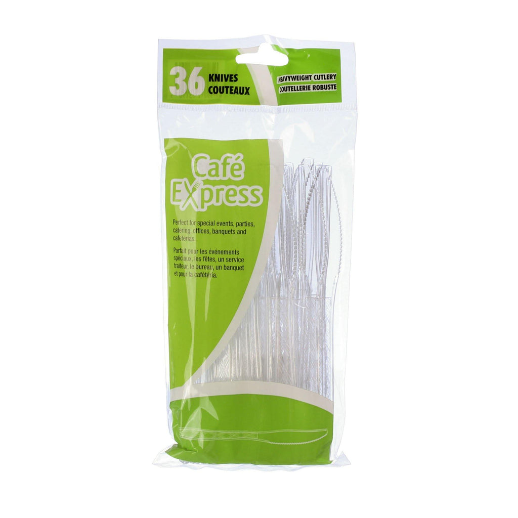 Cafe Express Clear Heavy Weight Plastic Knives 36 - Dollar Max Depot