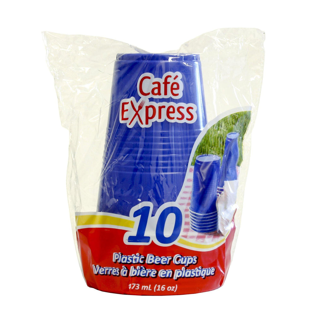 Cafe Express 16Oz Beer (Pp) Cups Blue/White 10X - Dollar Max Depot