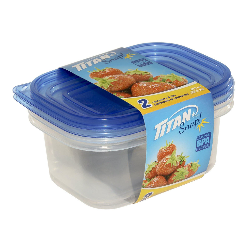 Titan Snap Small Rectangular Food Container 670Ml 2Pcs/Pk48Pk - Dollar Max Depot