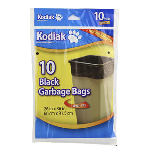 Kodiak Regular Garbage Bags 2636 Black 10/Pk Gauge 0.8Mil - Dollar Max Depot