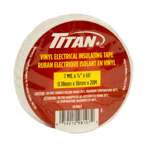 Titan White P.V.C. Electrical Tape 18Mm20M 12
