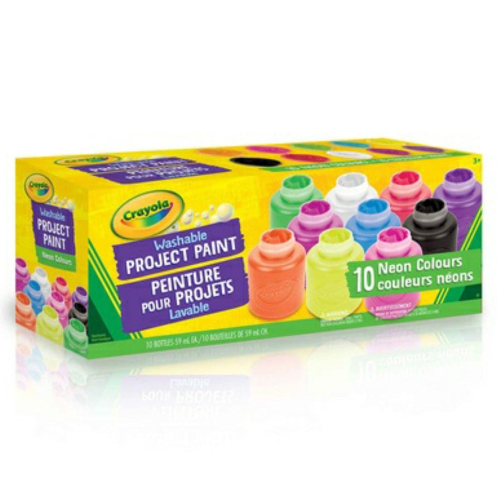 Crayola 10 Washable Project Paint Neon Colours