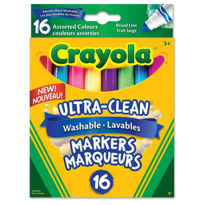 Crayola Ultra-Clean Washable Broad Line Markers 16 - Dollar Max Depot