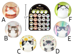 Cute Cat Round Glass Magnet - Dollar Max Depot