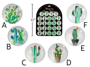 Cactus Round Glass Magnet - Dollar Max Depot