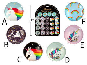 Unicorn Round Glass Magnet