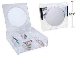 Clear  Organizer With Mirror - Dollar Max Depot