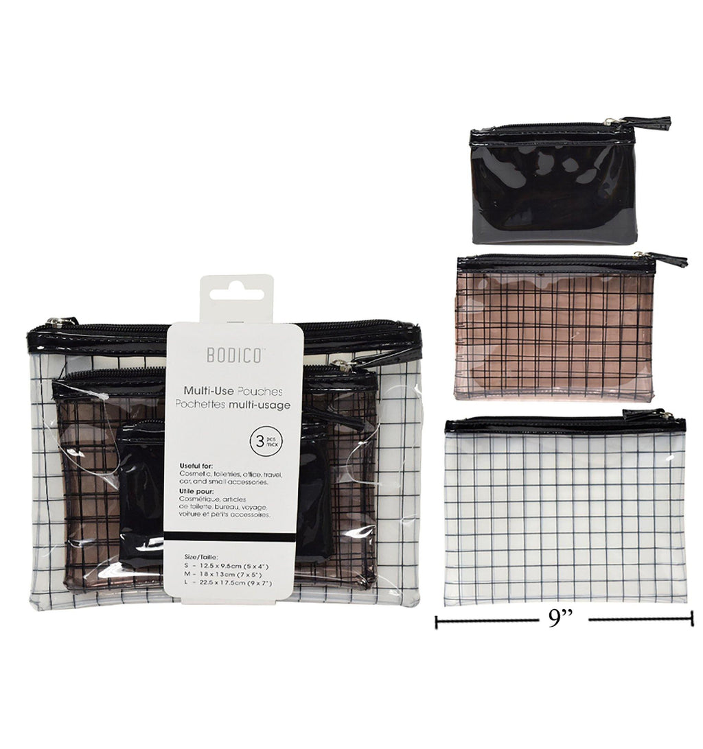 Bodico 3-Pc Clear Travel Pouch Set