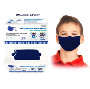 "50-Pack 4-Ply Kids Disposable Face Mask - Blue - Children Size 5.5"" x 3.5"" - Dollar Max Depot"