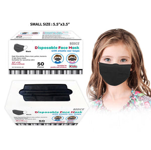 "50-Pack 4-Ply Kids Disposable Face Mask - Black - Children Size 5.5"" x 3.5"" - Dollar Max Depot"