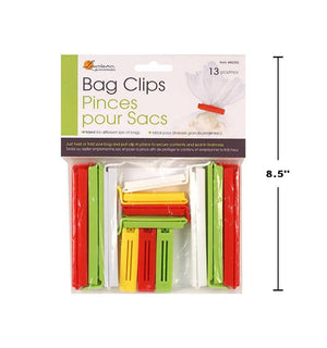 Luciano 13-Pc Bag Clips 4 Col. - Dollar Max Depot