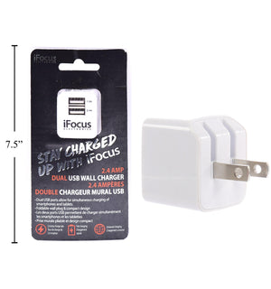 Ifocus Dual Port Usb Wall Charger - Dollar Max Depot