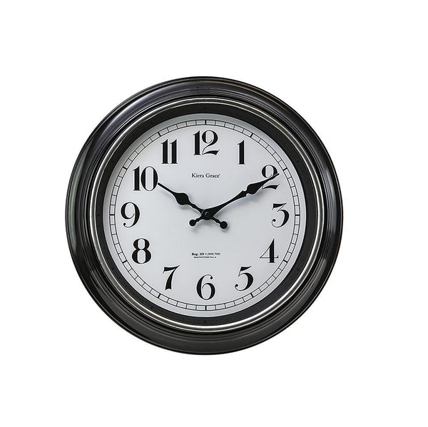 Degraw 16In Wall Clock - Black Brushed Silver