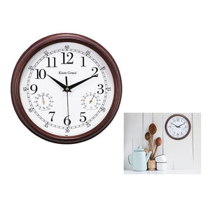 Metz  9In Wall Clock With Temperature And Humidity Gauges -Black