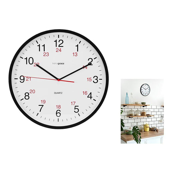 Synchro 12/24 Silent 12In Wall Clock Black (Non-Ticking)