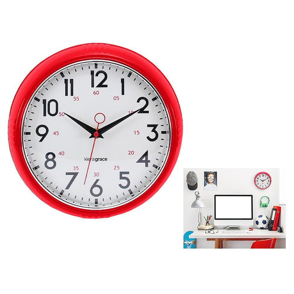 Retro 9.5In Wall Clock - Red And Chrome