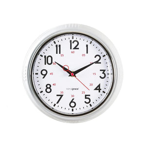 Retro 9.5In Wall Clock - White And Chrome