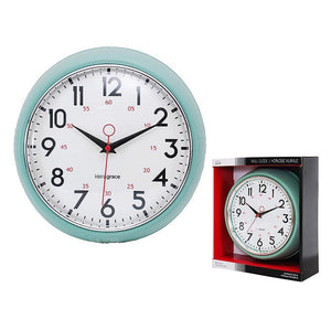 Retro 9.5In Wall Clock - Green And Chrome