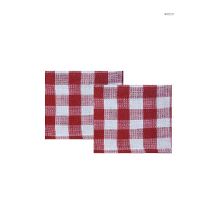 Hotel Gingham Dish Cloths 2Pk - Red - Dollar Max Depot