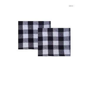 Hotel Gingham Dish Cloths 2Pk - Black - Dollar Max Depot