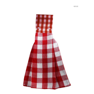 Hotel Gingham Hang Towel-Red - Dollar Max Depot