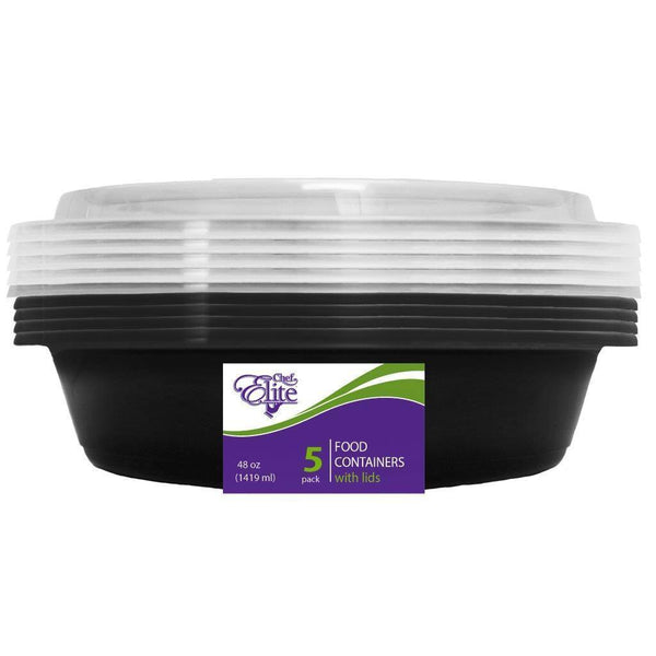 38Oz Round Reusable Food Container with likds 5pk
