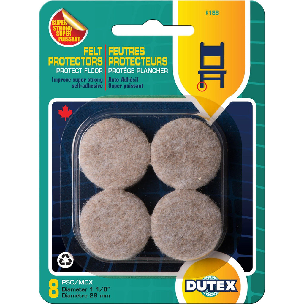 "8 Felt Protectors For Floor Super Strong Self-Adhesive Diameter 1 1/8"" - Dollar Max Depot"